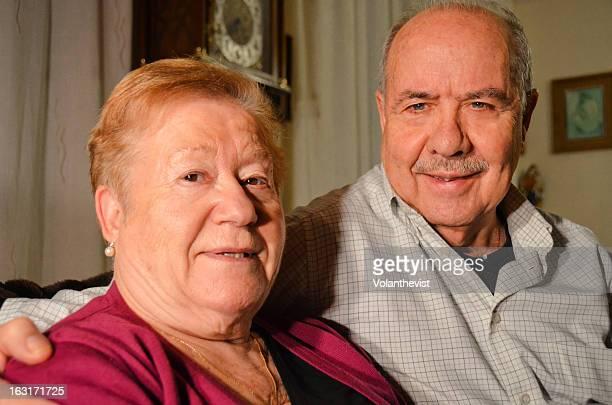 Elderly couple at home. Close-up portrait