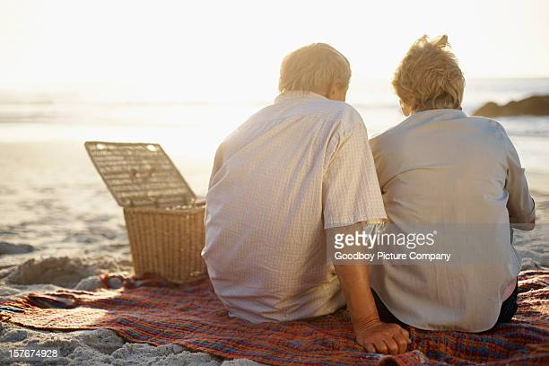 Elderly couple on a beach picnic, facing the sea