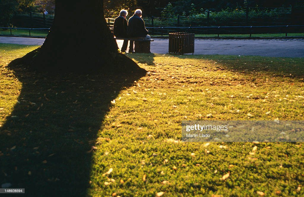 Elderly couple on bench next to tree casting shadow in park on grounds of Schloss. : Stock Photo