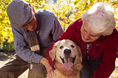 Elderly couple with their pet dog in the park