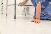 elderly falling in bathroom because slippery surfaces