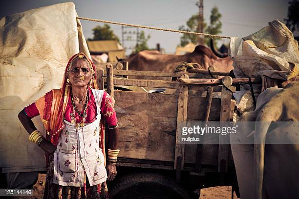 elderly indian lady at the pushkar fair