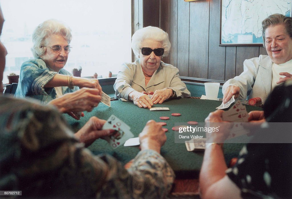 Elderly ladies playing poker at Greenville Yacht Club in scene from TIME cover story Life on the Mississippi.