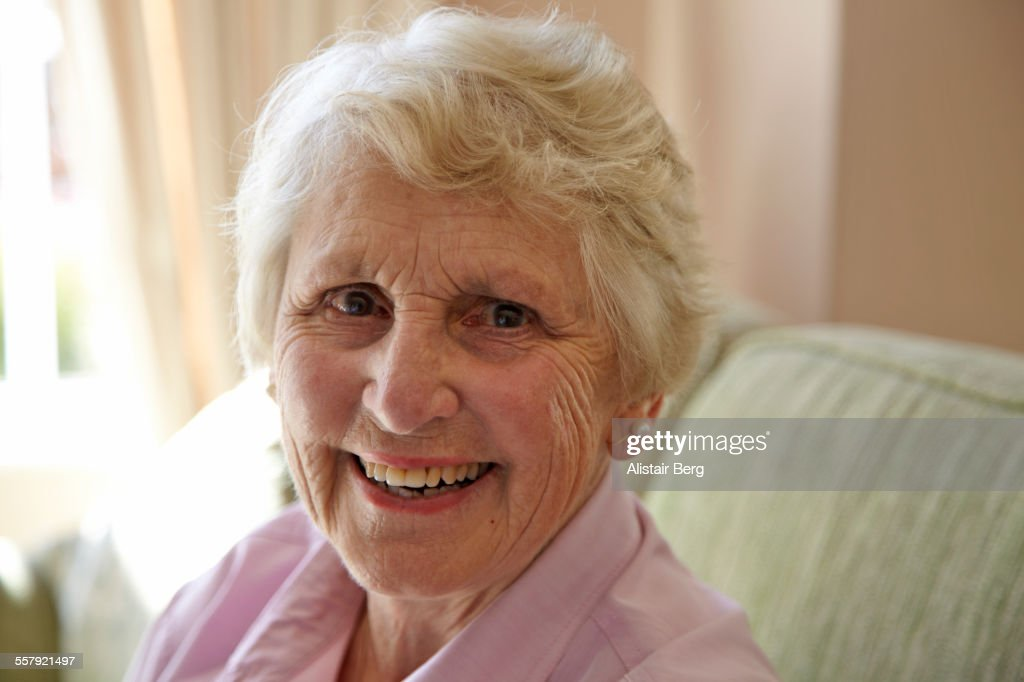 Elderly lady in a private retirement home : Stock Photo