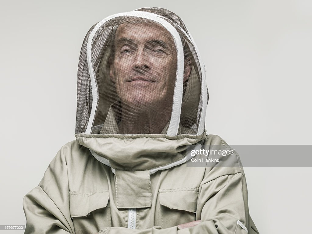 Elderly male beekeeper