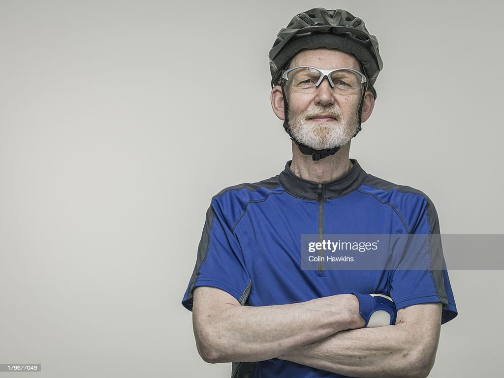 Elderly male cyclist