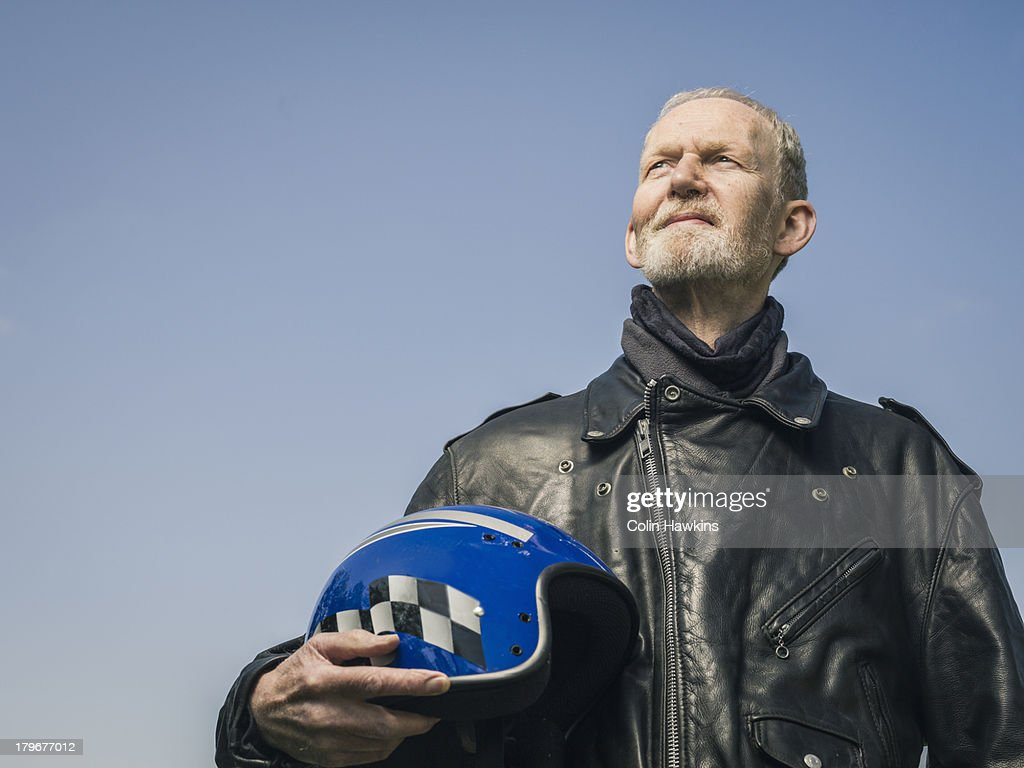 Elderly male motor cyclist