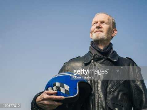 Elderly male motor cyclist