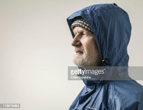 Elderly malein wet weather clothing