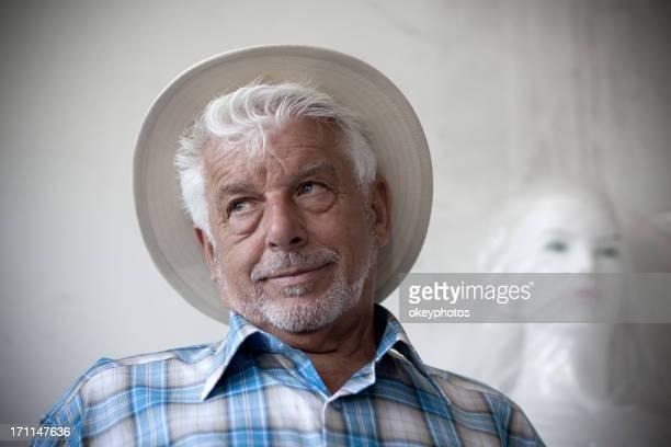 Elderly man and mannequin