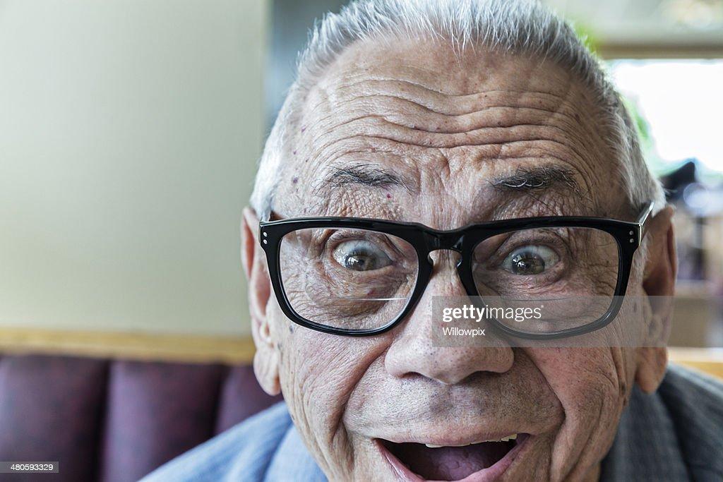 Elderly Man Goofy Grin Close-Up : Stock Photo