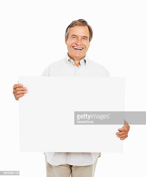 Elderly man holding a blank board to write your text