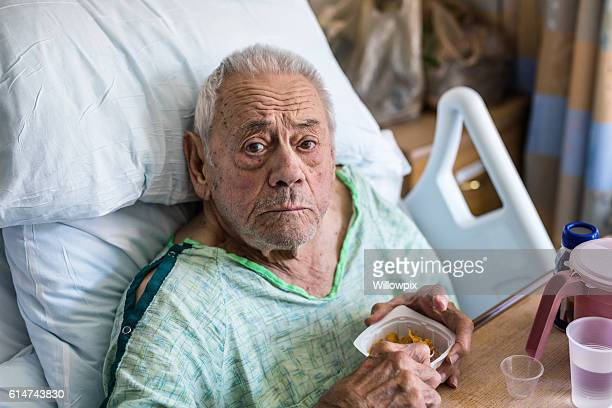 Elderly Man Hospital Patient Eating Portion Control Breakfast Cereal