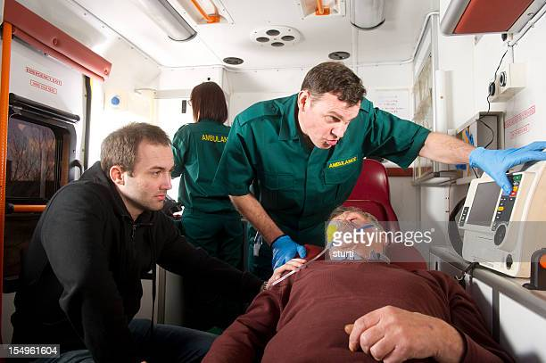 Elderly man in ambulance