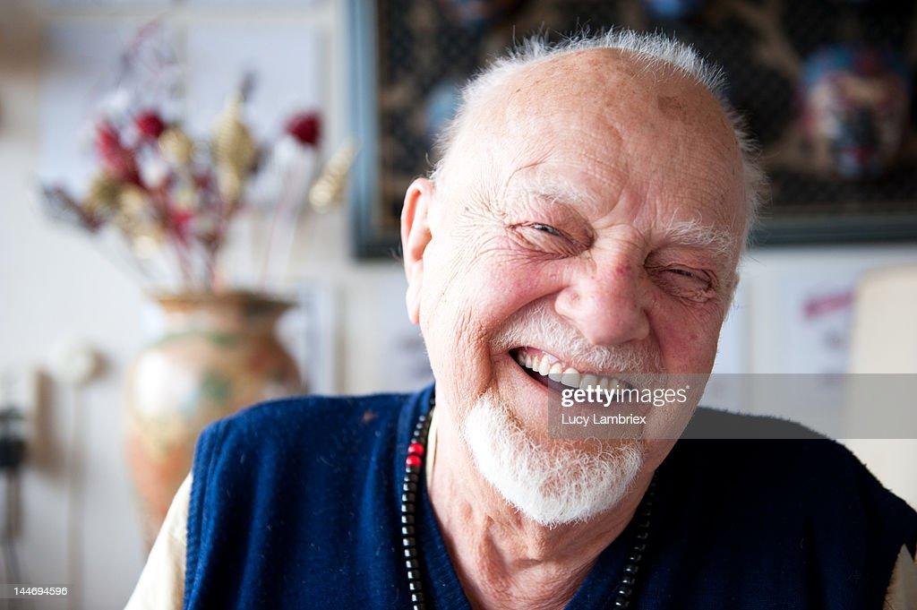 Elderly man laughing : Photo