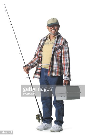 elderly man smiles holding a fishing pole and a tackle box stock, Fishing Rod