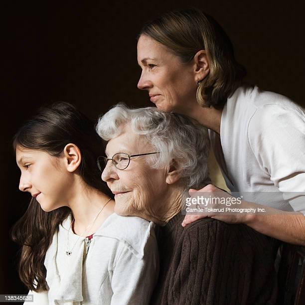 Elderly mother, daughter and granddaughter