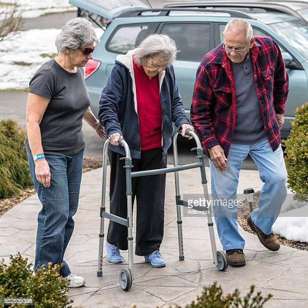 Elderly Parents and Daughter Returning Home From Emergency Room Visit