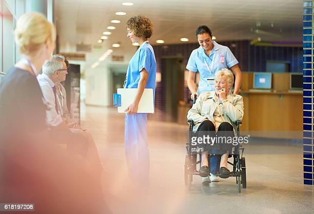 elderly patient leaves hospital