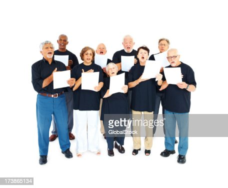 Elderly people chanting hymns over white