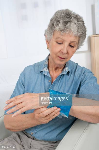 Elderly person with painful wrist