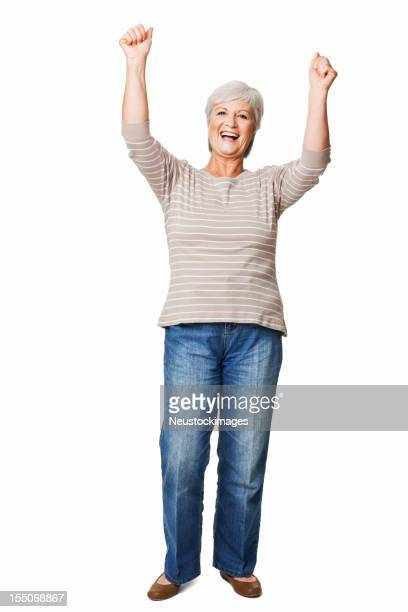 Elderly Woman Cheering - Isolated