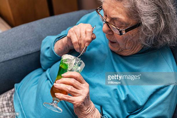 Elderly Woman Eating Parfait Whipped Cream Gelatin Dessert