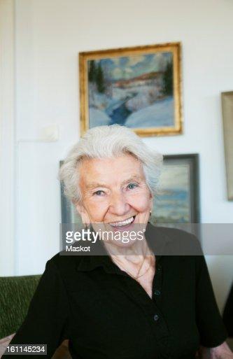 Elderly woman in apartment