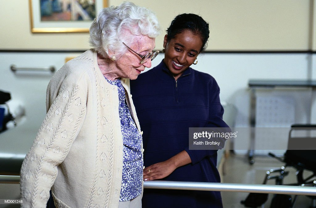 Elderly Woman in Rehabilitation : Stock Photo