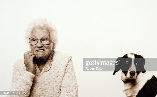 Elderly woman sitting beside border collie, portrait (toned B&W) : Stock Photo