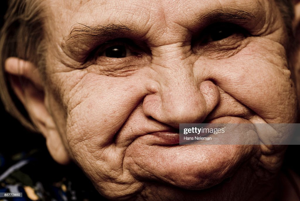 Elderly woman smiling. : Stock Photo
