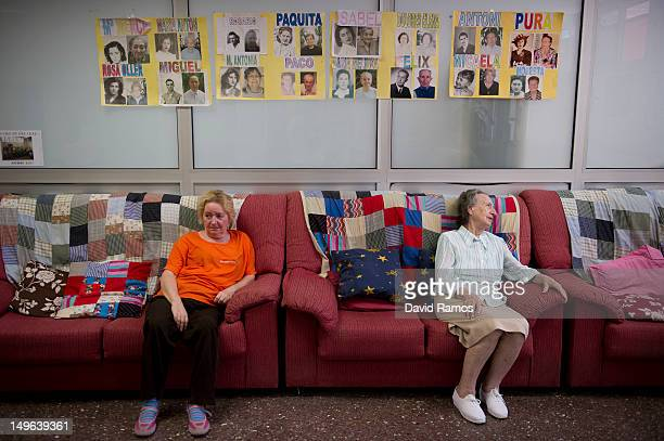 Elderly women sit on a couch at the Centre de dia Leal elderly home on August 1 2012 in Barcelona Spain The Catalan Government announced it could not...