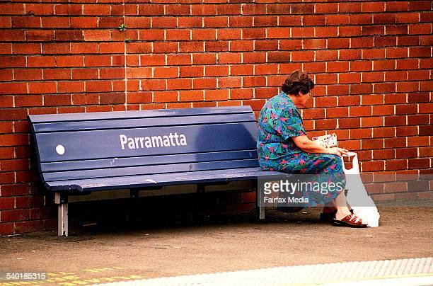 Elderly women sitting on a bench at parramatta railway station
