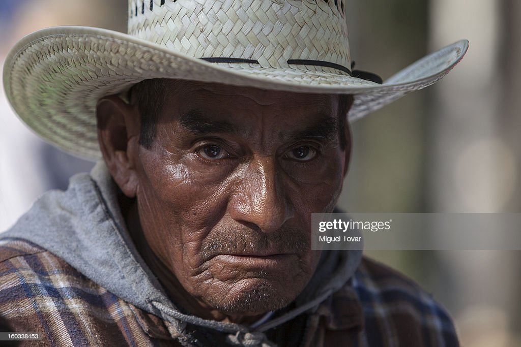 Elderly worker during a protest to speed up the distribution of compensation funds and pension payments from the mexican goverment for those who worked on the United States on the 'bracero' program between 1942 and 1964 on January 29, 2013 in Mexico City, Mexico.