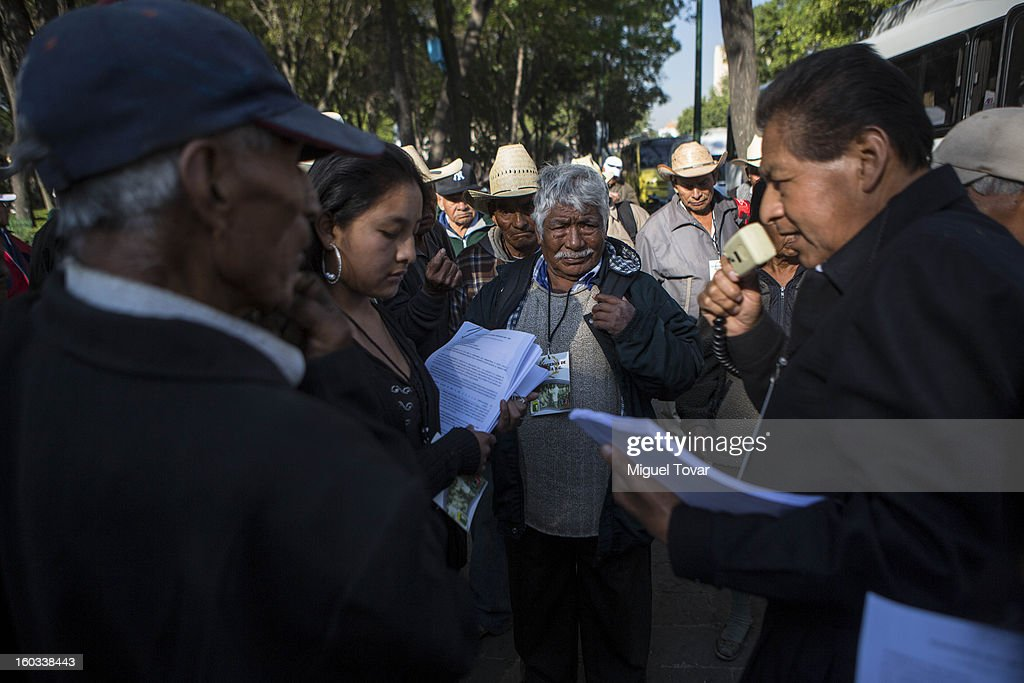 Elderly workers during a protest to speed up the distribution of compensation funds and pension payments from the mexican goverment for those who worked on the United States on the 'bracero' program between 1942 and 1964 on January 29, 2013 in Mexico City, Mexico.