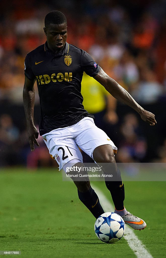 <a gi-track='captionPersonalityLinkClicked' href=/galleries/search?phrase=Elderson&family=editorial&specificpeople=7148791 ng-click='$event.stopPropagation()'>Elderson</a> of Monaco in action during the UEFA Champions League Qualifying Round Play Off First Leg match between Valencia CF and AS Monaco at Mestalla Stadium on August 19, 2015 in Valencia, Spain.