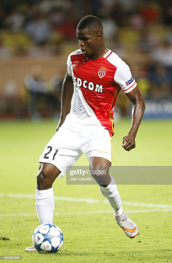 <a gi-track='captionPersonalityLinkClicked' href=/galleries/search?phrase=Elderson&family=editorial&specificpeople=7148791 ng-click='$event.stopPropagation()'>Elderson</a> Uwa Echiejile of Monaco in action during the UEFA Champions League play off round 2nd leg between AS Monaco and Valencia CF at Stade Louis II on August 25, 2015 in Monaco.