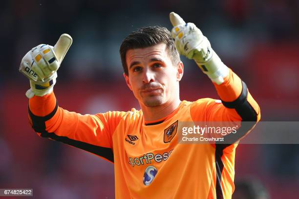 Eldin Jakupovic of Hull City acknowledges the fans after the Premier League match between Southampton and Hull City at St Mary's Stadium on April 29...