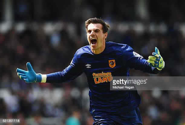 Eldin Jakupovic of Hull City celebrates as Andrew Robertson of Hull City scores their third goal during the Sky Bet Championship Play Off semi final...