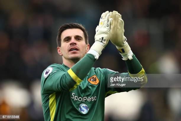Eldin Jakupovic of Hull City celebrates during the Premier League match between Hull City and Watford at the KCOM Stadium on April 22 2017 in Hull...
