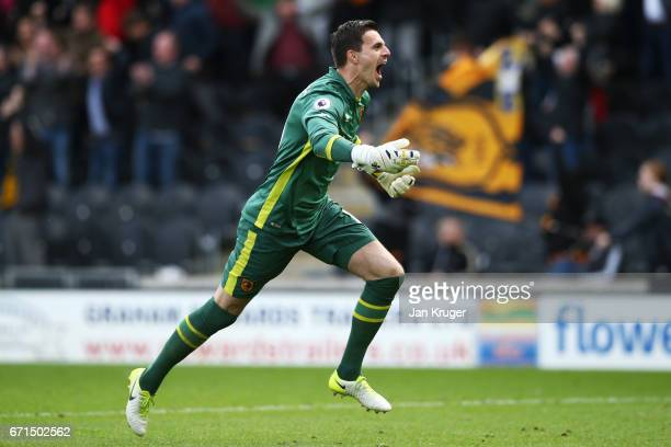 Eldin Jakupovic of Hull City celebrates their sides 1st goal during the Premier League match between Hull City and Watford at the KCOM Stadium on...