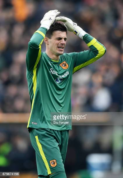 Eldin Jakupovic of Hull City reacts during the Premier League match between Hull City and Sunderland at the KCOM Stadium on May 6 2017 in Hull England