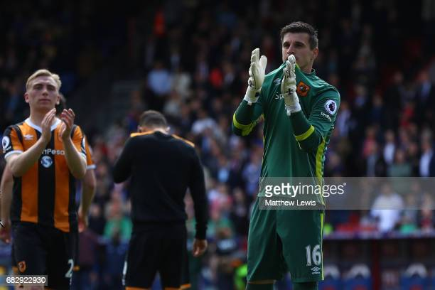 Eldin Jakupovic of Hull City shows appreciation to the fans after Hull City are relegated to the Championship afterthe Premier League match between...