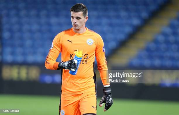 Eldin Jakupovic of Leicester City during the Premier League 2 match between Leicester City and West Ham United at King Power Stadium on September 11...