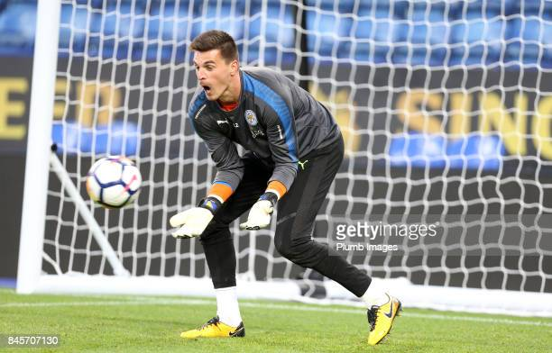 Eldin Jakupovic of Leicester City warms up ahead of the Premier League 2 match between Leicester City and West Ham United at King Power Stadium on...