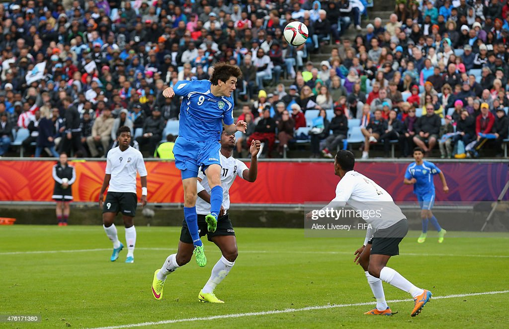 Eldor Shomurodov of Uzbekistan scores the opening goal during the FIFA U-20 World Cup Group F match between Fiji and Uzbekistan at the Northland Events Centre on June 7, 2015 in Whangarei, New Zealand.