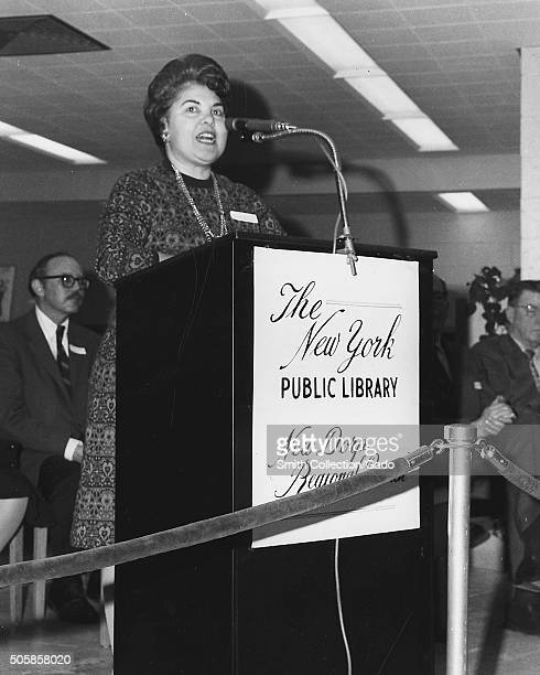 Eleanor Ayoub Branch Librarian of New Dorp Regional Branch of the New York Public Library speaking at a podium during opening event 1972 From the New...