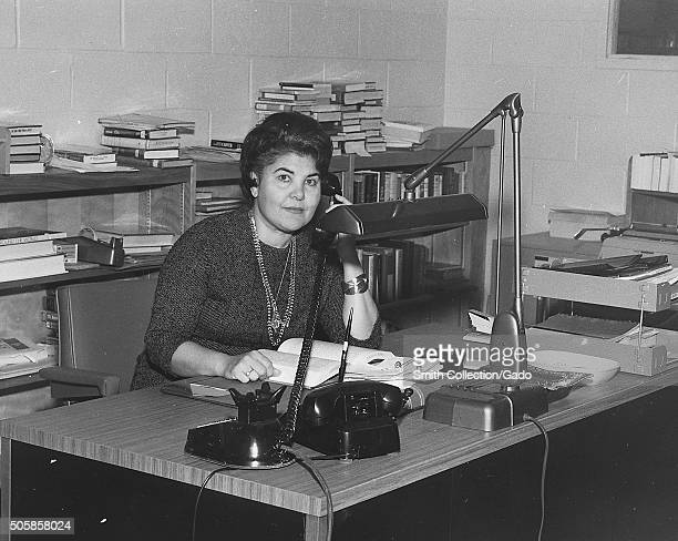 Eleanor Ayoub Branch Librarian of New Dorp Regional Branch of the New York Public Library working at her desk 1972 From the New York Public Library