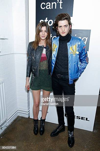 Eleanor Calder and Max Hurd attend the Diesel SS16 campaign launch party during The London Collections Men on January 9 2016 in London England