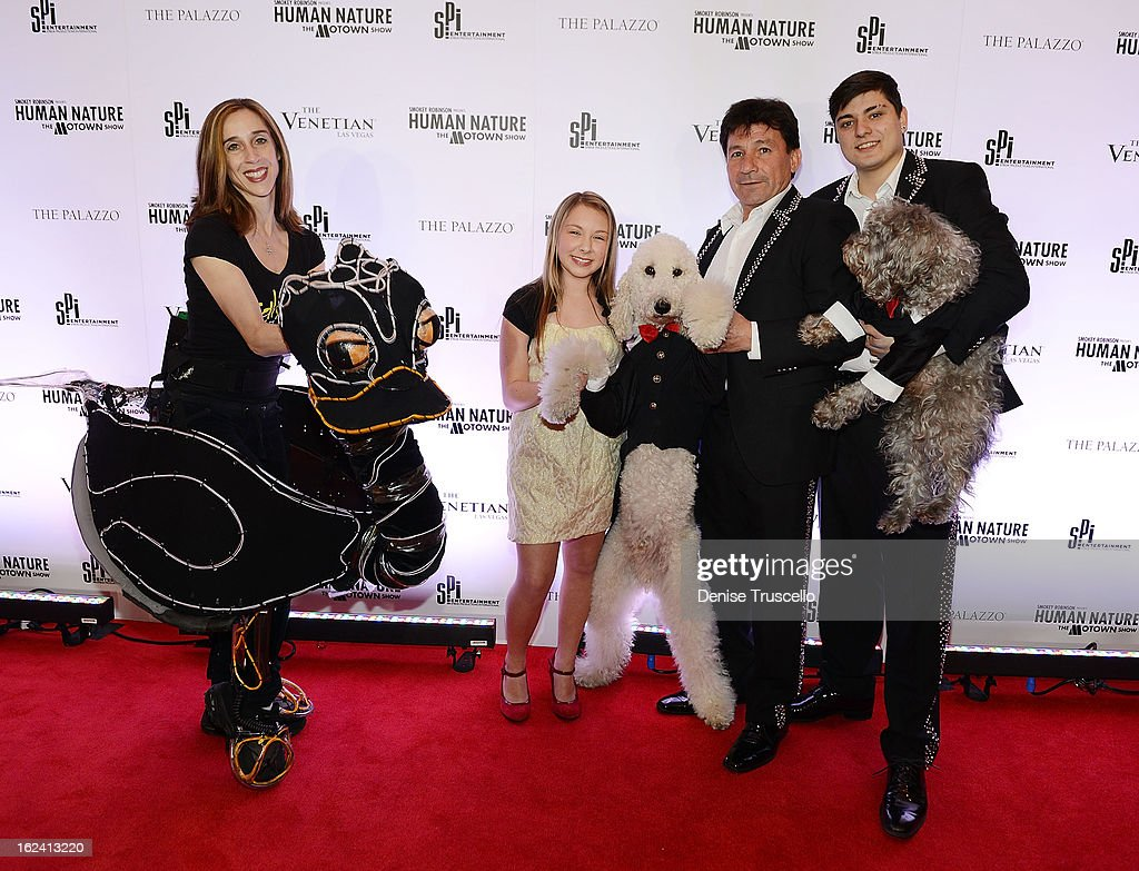 Eleanor Carney of Lightwire Theater, Anna Graceman and Olate Dogs arrive at 'Smokey Robinson Presents Human Nature: The Motown Show' opening at The Venetian Resort Hotel Casino on February 22, 2013 in Las Vegas, Nevada.